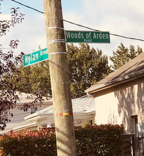 Corner of Hylan Blvd. and Woods of Arden Rd.